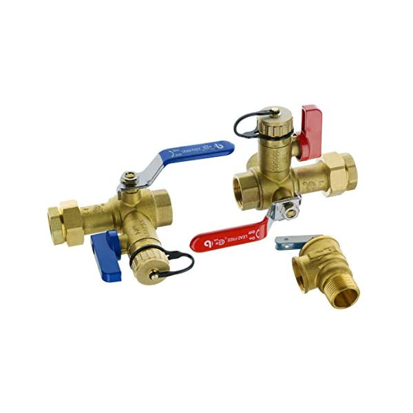 Hydro Master 3/4-Inch IPS Isolator Tankless Water Heater Service Valve Kit with Pressure Relief Valve, Clean Brass