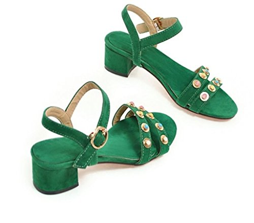 34 41 Toe 37 Xie Sandales Shopping open scolaire Molleton Green Confortable 4cm rivets simple PPvqpOT4