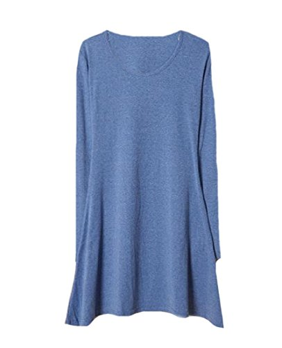 Style Sleeve Solid Mini Pullover Denim Basic Dress Comfy Womens Casual Blue Long 4cyAWFpX