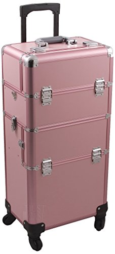Hiker HK6501PPPK HK6501 4-Wheel 2-in-1 Rolling Makeup Case with Easy-Slide and Extendable Trays, Includes Removable Tray and Extra Lid, 31-Inch, Smooth Texture, Pink by Hiker