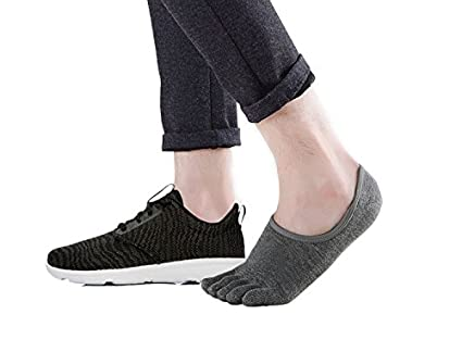 Teenloveme Chaussettes Orteils Homme Chaussettes basses invisibles Chaussettes 5 doigts Homme en Coton Homme Socquettes de sport 4 paires