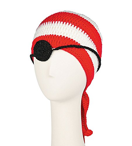 [Childrens Pirate Hat and Eyepatch Striped Knit Beanie] (Wheres Waldo Girl Halloween Costume)