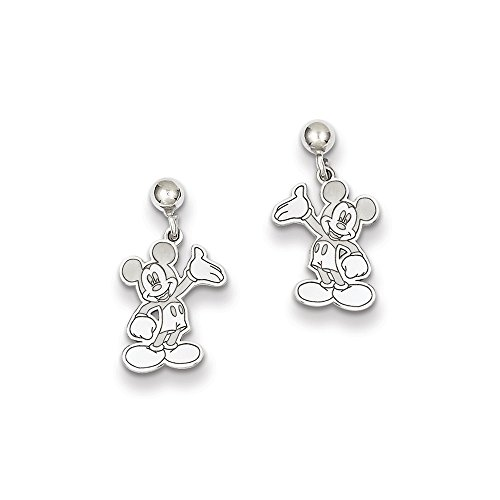 Roy Rose Jewelry Sterling Silver Waving Mickey Mouse Dangle Post Earrings Trademark and Licensed