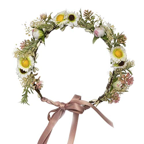 Vivivalue Daisy Flower Crown Floral Wreath Headband Hair Garland Flower Halo Headpiece with Ribbon Wedding Party Photos Festival ()