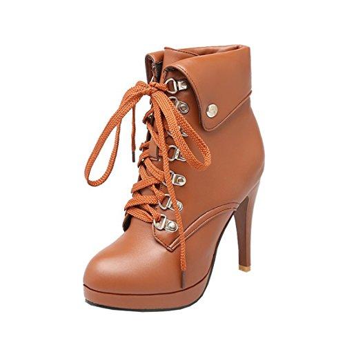Bout Talons Rond UH avec Lacets Bottes Haut à Chaussures Marron de Plateform avec Aiguilles Femmes Fourrure wwf8qOA4