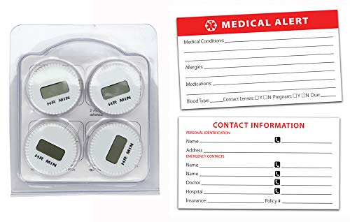 Medicine Bottle Timer with Bonus Medical Alert Card - Timer resets Everytime You Close Your Medication Cap. (4 Pack of Timers - 1 Medical Alert Card)