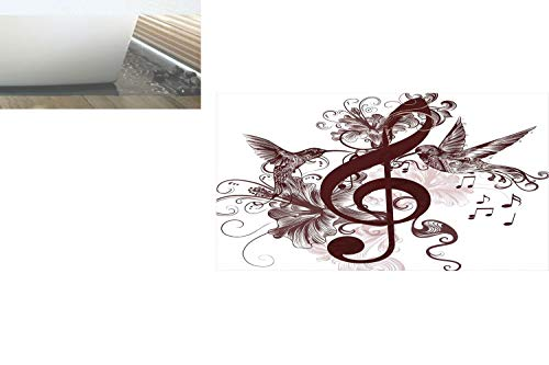 - Decorative Privacy Window Film/Cute Floral Design with Treble Clef and Singing Flying Birds Sparrows Art/No-Glue Self Static Cling for Home Bedroom Bathroom Kitchen Office Decor Chesnut Brown White