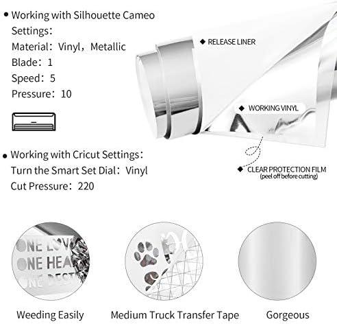 12x78  Película De Calcomanía de vinilo plateado con espejo cromado