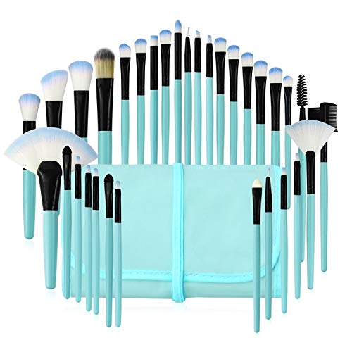 - Makeup Brushes Set, 32pcs Blue Premium Cosmetic Make Up Brushes For Foundation Blending Blush Concealer Shader Eyeshadow Eyeliner with Travel Makeup Bag