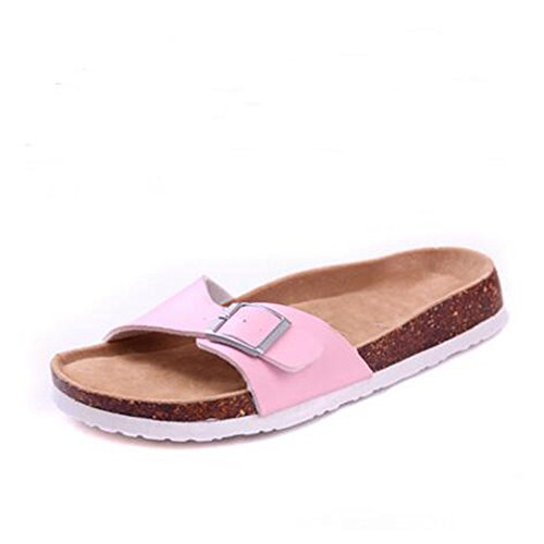 Women's Strap Adjustable Slide Flat Open 18 YaMiFan with Slippers Buckle Sandals Toe dYx6qUdA