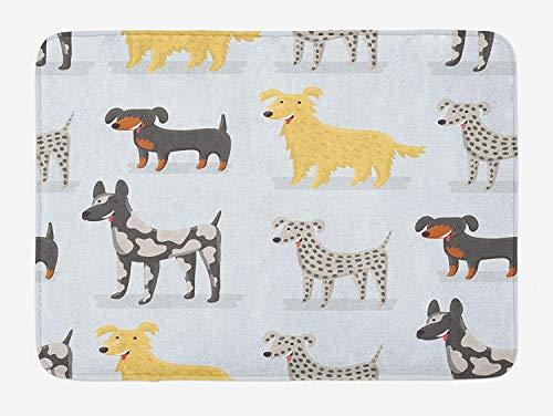 (Library design Kids Bath Mat, Cute Dogs Dalmatian Yorkshire Terrier German Shorthaired Pointer Playroom Nursery, Plush Bathroom Decor Mat with Non Slip Backing, 29.5 W X 17.5 W Inches,)