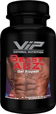 Beast ABZ Designer Fat Stripper, VIP Natural Nutrition, Quality Fat Burner Supplement, Garnicia Cambogia, Green Tea, Java Tea Extract, Lecithin, L-Carnitine, (60 capsules)