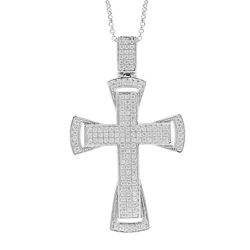 1.50 Carat 10kt White Gold Diamond Cross Religious Mens Hip Hop Pendant, 1.75 Inch by Isha Luxe