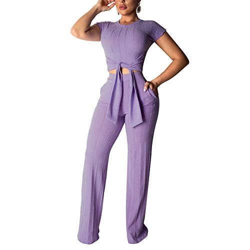 Women's Sexy 2 Piece Outfits - Short Sleeve Crop Top Wide Leg Pants Set Sweater Jumpsuits Purle M Purple