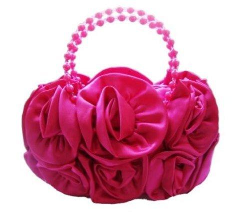 Bridal Clutch Flower Prom BLACK Rose Silk Satin HOT Bride Evening Party Wedding PINK Handbag 4qEaF8w