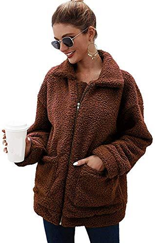 SABARRY Women Coat Casual Lapel Fleece Fuzzy Faux Shearling Zipper Outwear Jackets (Brown,XXL)