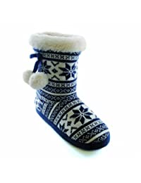 Womens/Ladies Fairisle Knit Boot Slippers With Pom-Poms