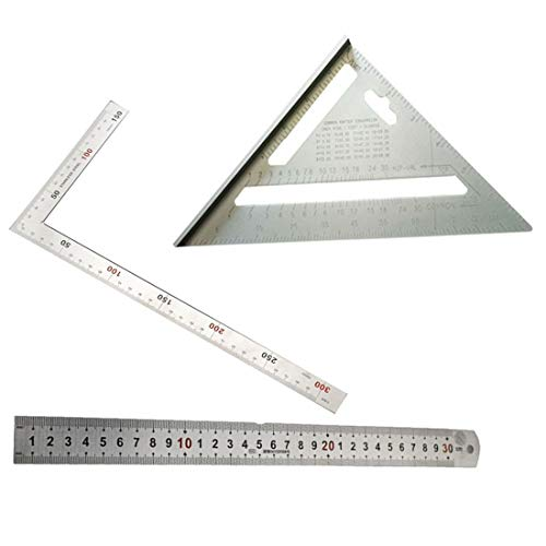 Jiayouy 7 Inch Aluminum Alloy Triangle Carpenter's Square+Right Angle Ruler 30cm+90 Degree Square Angle Metric Ruler 15cm Measuring Ruler Angle Protractor Tool ()