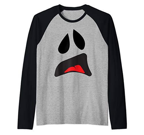 Big Ghost Face - Easy Couples Halloween Costume Idea Raglan Baseball Tee