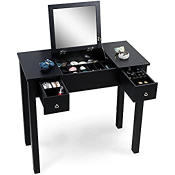 Bon Organizedlife Black Dressing Table Vanity With Mirror Wooden Makeup Desk