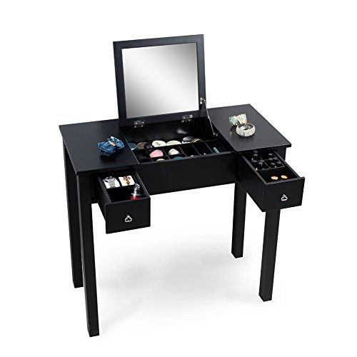 Organizedlife black dressing table vanity with mirror for Black makeup table with mirror