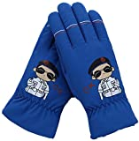 FULIER Kids Winter Cold Weather Plush Lining Warm Casual Cute Gloves For Boy Girl (Blue)