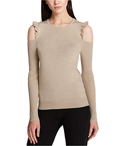 DKNY Womens Cold Shoulder Metallic Pullover Sweater Gold S