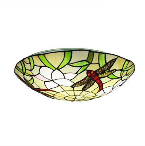 Tiffany Style Flush Mount Ceiling Lighting, Dragonfly Pattern Stained Glass Shade Ceiling Light Fixture for Bedroom, Kitchen Island, Corridor, Entry,40cm ()