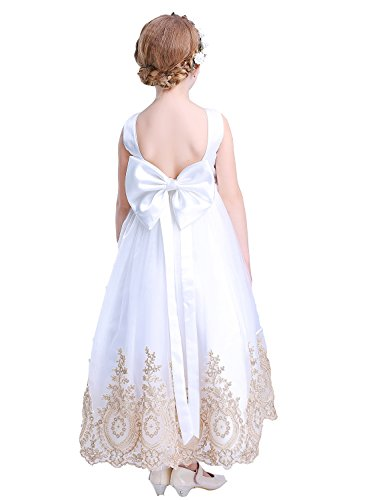 Bow Dream Flower Girl's Dress White Satin Top Gold Lace Trimmed 7