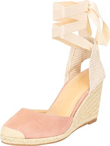 Cambridge Select Women's Retro 70s Closed Toe Crisscross Ankle Wrap Tie Espadrille Chunky Wedge Sandal,7.5 B(M) US,Dusty Pink IMSU ()