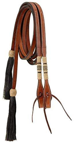 - Royal King Split Reins with Braided Rawhide and Horsehair Tassels