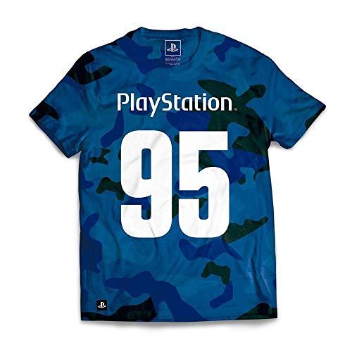 Camiseta Playstation 95 Camuflada, Banana Geek, Adulto Unissex, Azul, M