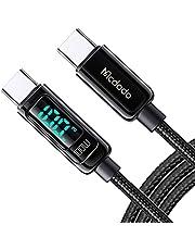 Mcdodo USB-C-kabel, 100 W, 5 A, PD QC 4.0, snellaadkabel, USB C naar USB-C kabel 1,2 m, laadvermogen van visuele weergave, compatibel met Pad Pro 2020, Galaxy S21 S10 Huawei meer (zwart)