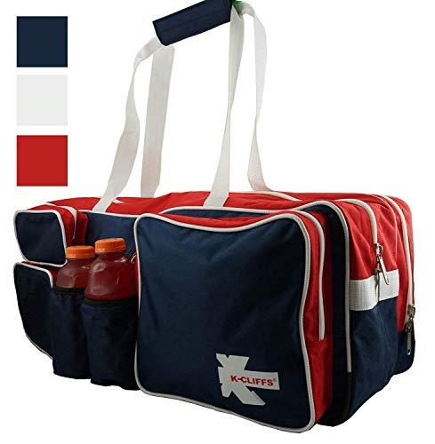 NiceAndGreat Navy White Tennis Racket Bag | Deluxe Ballistic Nylon | Shoe Compartment