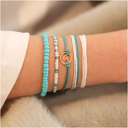 pe Compass Pinnacle Bracelet Set for Women Geometric Adjustable Bangle Set pulseiras (Wave) ()