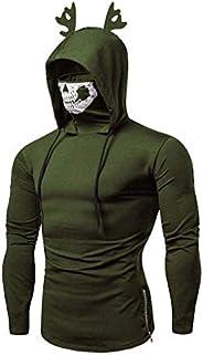 Men's Mask Skull Pure Color Pullover Sleeveless/Long Sleeve Hooded Sweatshirt Tops Bl