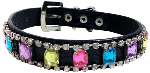 One Tail Four Paws Crystal Collar, Large, Black