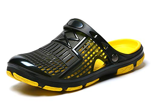 CCZZ Men's Classic Clogs Garden Shoes Anti-Slip Casual Water Shoe Beach Shower Sandals Summer Slippers Green, 11