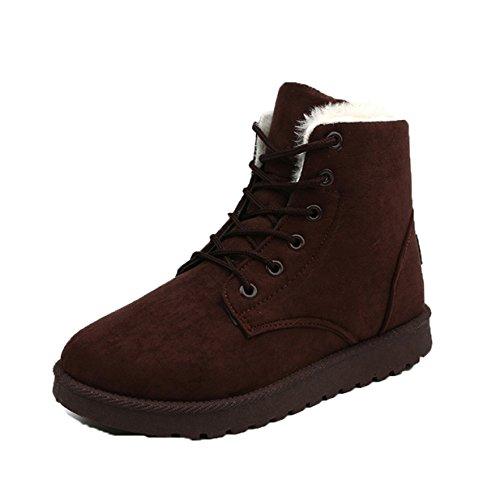 Lalang Damen Schnee Stiefel Winterstiefel Warm Winter Boots Schneestiefel , Outdoor Stiefeletten mit Schnürsenkel (40 EU, Beige) Braun