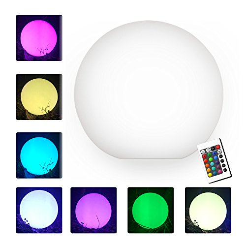 YUMEITECH 8'' LED Ball Light, Multi RGB Color Changing Light, Wireless Floating Pool Light with Remote Control Rechargeable, Indoor Outdoor Night Light Living Garden Light Décor
