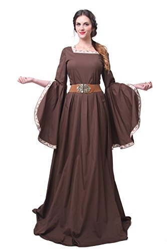 Gentlewoman Costume (Women Renaissance Costumes Vintage Plus Size Masquerade Medieval Victorian Dress GC227A (L, dark brown))