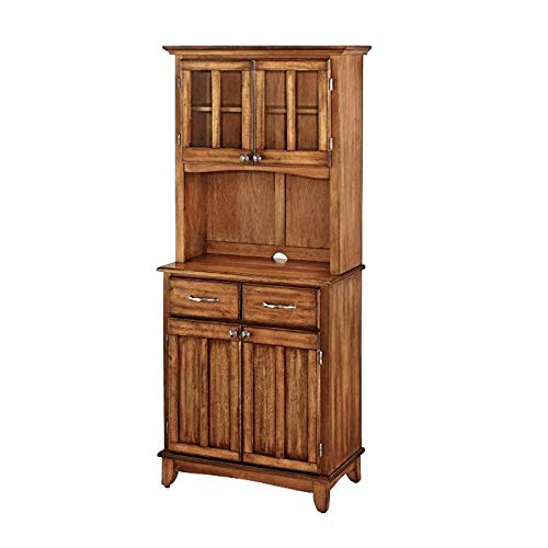 ghy Farmhouse Buffet Cabinet Cottage Oak Wood Top Two-Door Hutch Adjustable Shelf Drawers Kitchen Dining Room Traditional Style & eBook by JEFSHOP