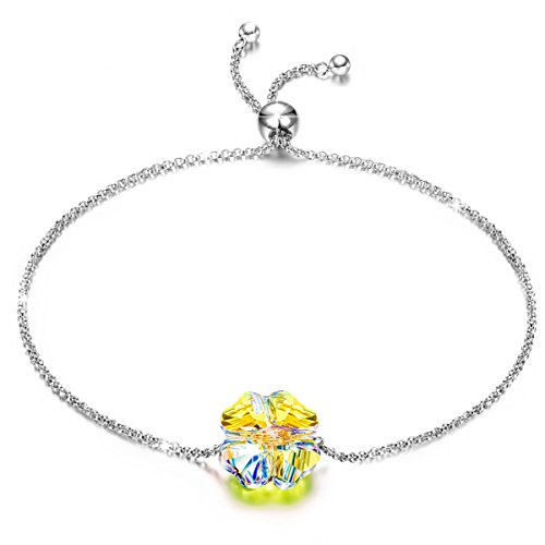 J.NINA 925 Sterling Silver Jewelry Lucky Love Clover Link Adjustable Bracelet for Mothers Day Crystal from Swarovski Christmas Valentines Anniversary Birthday Gifts for Teen Girls Girlfriends Wife