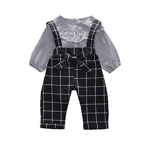 Creazrise Big&Little Girls 2Pc Big Bib Braces Plaids Summer Ruffled Shortalls Set T-Shirts Black ()