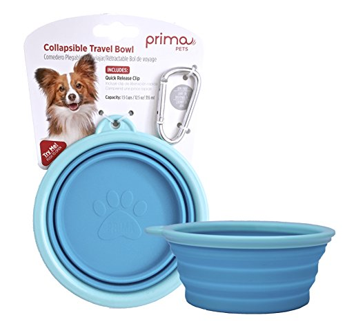 Prima Pet Expandable/ Collapsible Silicone Food & Water Travel Bowl with Clip for Small & Medium Dog and Cat, Size: 1.5 Cups (5.1 Inch Diameter Bowl) (AQUA) ()