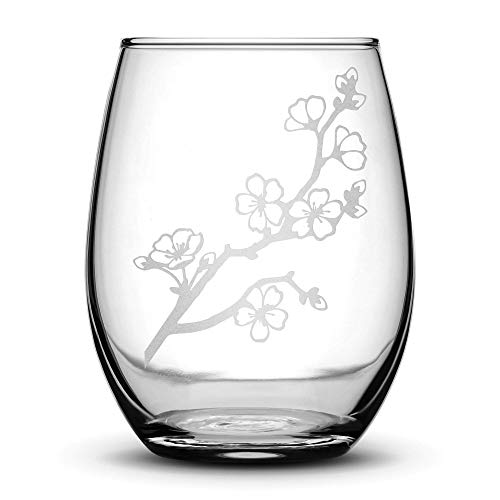 Integrity Bottles Premium Stemless Wine Glass, Cherry Blossom, Deep Etched 15 Ounce Unique Gifts, Made in USA, Sand Carved by Hand