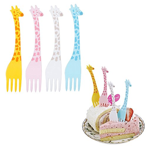 HUNGER Happy Giraffe Fruit Forks Cocktail Sticks Party Supplies Plates Picks Dessert Forks Cake Forks, 12 PCS