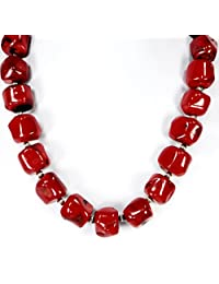"""001 Ny6design Red Coral Nugget Necklace with Silver Plated Toggle Clasp 18"""" N..."""