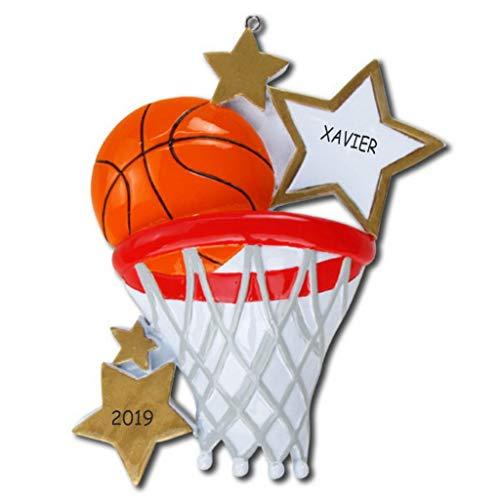 Personalized Basketball Sports Christmas Ornament - Glass Basketball Christmas Ornaments