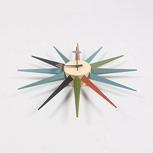 MCC Sunburst Atomic Wooden Wall Clock Mid Century Multi Color Handmade Antique Retro Telechron Danish Nelson Style , color by MCC (Image #3)